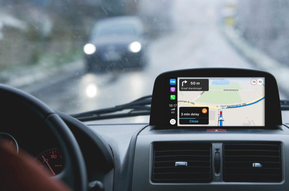 Flitsmeister showcase in car dashboard european driving EN